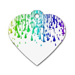 Paint Drops Artistic Dog Tag Heart (one Side)