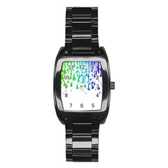 Paint Drops Artistic Stainless Steel Barrel Watch