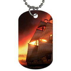 Pirate Ship Caribbean Dog Tag (one Side)