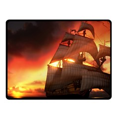 Pirate Ship Caribbean Double Sided Fleece Blanket (small)