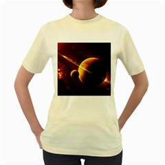 Planets Space Women s Yellow T Shirt