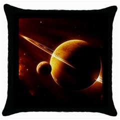Planets Space Throw Pillow Case (black)
