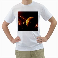 Planets Space Men s T Shirt (white)