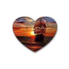 Pirate Ship Rubber Coaster (heart)
