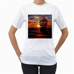 Pirate Ship Women s T Shirt (white)