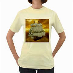 Pirate Ship Women s Yellow T Shirt