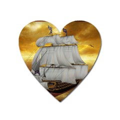 Pirate Ship Heart Magnet