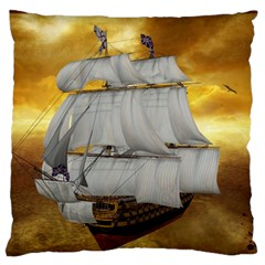 Pirate Ship Large Flano Cushion Case (one Side)