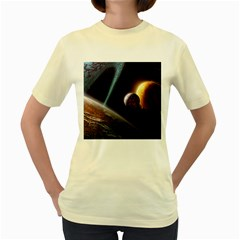 Planets In Space Women s Yellow T Shirt