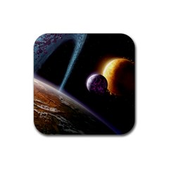 Planets In Space Rubber Coaster (square)