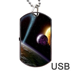 Planets In Space Dog Tag Usb Flash (two Sides)