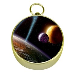 Planets In Space Gold Compasses