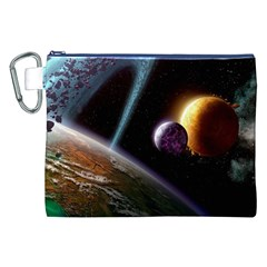 Planets In Space Canvas Cosmetic Bag (xxl)