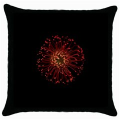 Red Flower Blooming In The Dark Throw Pillow Case (black)
