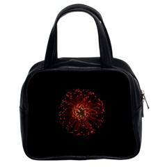 Red Flower Blooming In The Dark Classic Handbags (2 Sides)