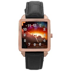 Red Fantasy Rose Gold Leather Watch