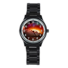 Red Fantasy Stainless Steel Round Watch