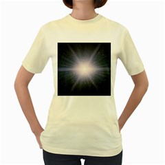 Real Photographs In Saturns Rings Women s Yellow T Shirt