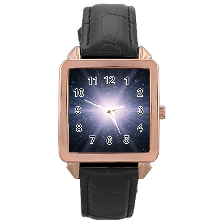 Real Photographs In Saturns Rings Rose Gold Leather Watch
