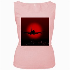 Red Sun Jet Flying Over The City Art Women s Pink Tank Top