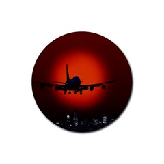 Red Sun Jet Flying Over The City Art Rubber Coaster (round)