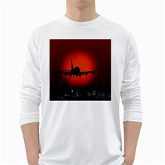 Red Sun Jet Flying Over The City Art White Long Sleeve T Shirts