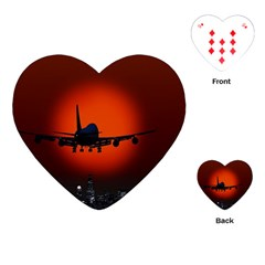 Red Sun Jet Flying Over The City Art Playing Cards (heart)