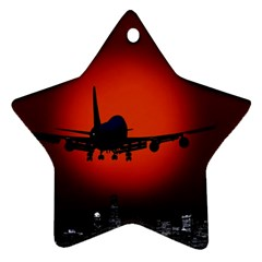 Red Sun Jet Flying Over The City Art Star Ornament (two Sides)