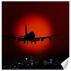 Red Sun Jet Flying Over The City Art Canvas 20  X 20