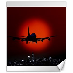 Red Sun Jet Flying Over The City Art Canvas 20  X 24