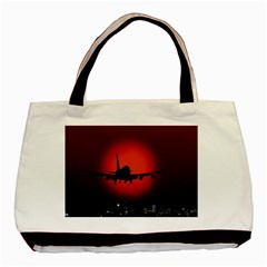 Red Sun Jet Flying Over The City Art Basic Tote Bag (two Sides)