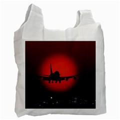 Red Sun Jet Flying Over The City Art Recycle Bag (two Side)