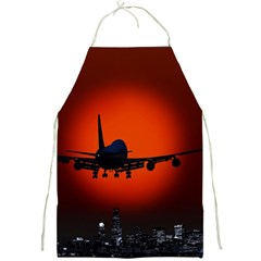 Red Sun Jet Flying Over The City Art Full Print Aprons