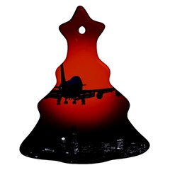 Red Sun Jet Flying Over The City Art Ornament (christmas Tree)