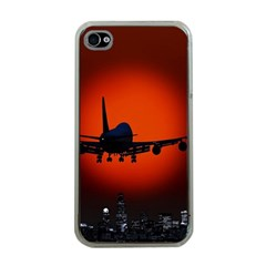 Red Sun Jet Flying Over The City Art Apple Iphone 4 Case (clear)