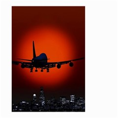 Red Sun Jet Flying Over The City Art Small Garden Flag (two Sides)