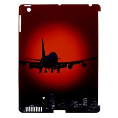 Red Sun Jet Flying Over The City Art Apple Ipad 3/4 Hardshell Case (compatible With Smart Cover)