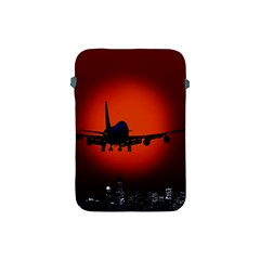 Red Sun Jet Flying Over The City Art Apple Ipad Mini Protective Soft Cases
