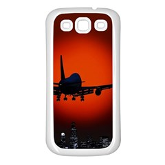 Red Sun Jet Flying Over The City Art Samsung Galaxy S3 Back Case (white)