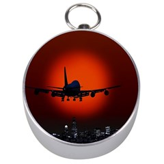 Red Sun Jet Flying Over The City Art Silver Compasses