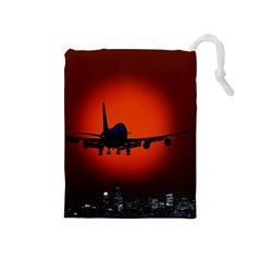Red Sun Jet Flying Over The City Art Drawstring Pouches (medium)