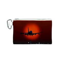 Red Sun Jet Flying Over The City Art Canvas Cosmetic Bag (s)