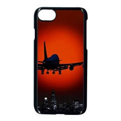Red Sun Jet Flying Over The City Art Apple iPhone 7 Seamless Case (Black)