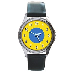 Ukrainian Air Force Roundel Round Metal Watch