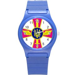 Emblem of The Ukrainian Air Force Round Plastic Sport Watch (S)