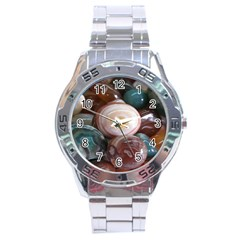 Rain Flower Stones Is A Special Type Of Stone Stainless Steel Analogue Watch