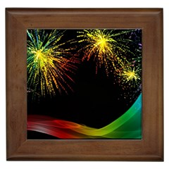 Rainbow Fireworks Celebration Colorful Abstract Framed Tiles