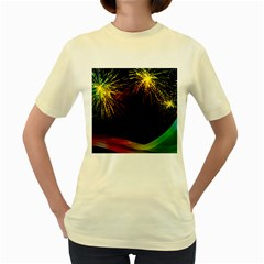 Rainbow Fireworks Celebration Colorful Abstract Women s Yellow T Shirt