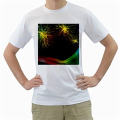 Rainbow Fireworks Celebration Colorful Abstract Men s T Shirt (white) (two Sided)