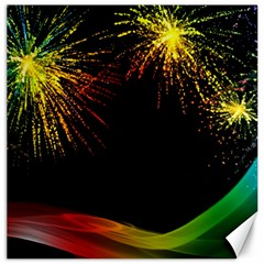 Rainbow Fireworks Celebration Colorful Abstract Canvas 16  X 16